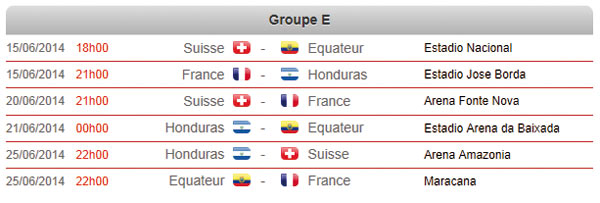 calendrier coupe du monde 2014 france