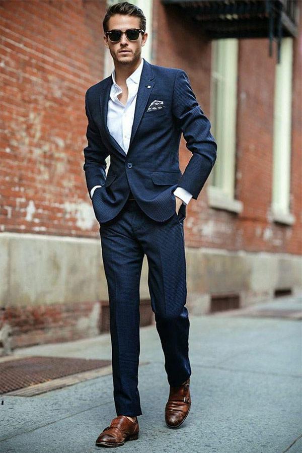 costume pour mariage bleu